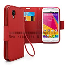 BLU Dash C Music Dash Music JR (D380L / D390)Flip Cover Wallet Case with a hand band, Many Colors Available (Wallet Red)