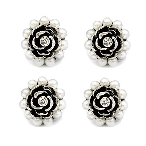 - SHINYTIME Pearl Rhinestone Buttons 4 Pieces Sew-On Retro Rose Flower Pearl Beaded Floral Buttons for Bridal Clothing Decoration and DIY Crafts 0.7 inches