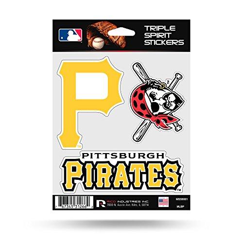 (Pittsburgh Pirates Triple Sticker Multi Decal Spirit Sheet Auto Home Baseball)