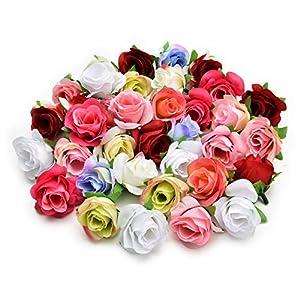Fake flower heads in bulk wholesale for Crafts Artificial Silk Rose Flower Head Decorative Flower Heads DIY Home Decor Garden Wedding Birthday Party Decoration Supplies 30PCS 4cm (Colorful) 31