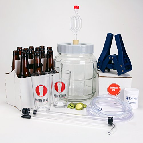 All Inclusive - Go Pro 1 Gallon Small Batch Beer Brewing Starter Kit Equipment Set with Chinook IPA Beer Recipe Kit (Small Beer Brewing Kit compare prices)