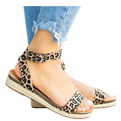 Women's Leopard Print Flats Open Toe Ankle Strap Buckle Sandals Thick-Soled Cork Slippers (Multicolor -2, US:6.0)