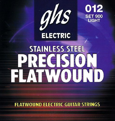 GHS Strings 900 Precision Flats, Stainless Steel Flat Wound Electric Guitar Strings, Light (.012-.050) by GHS Strings