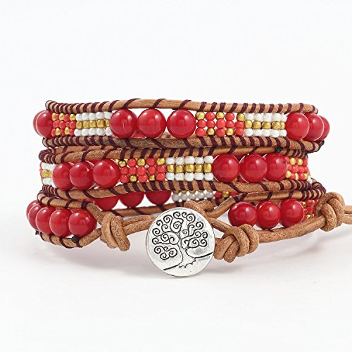 Wrap Leather Red Bead Genuine Leather 3 Strand braid Bracelet Tree of Life Boho leather cuff (Paracord Triple)