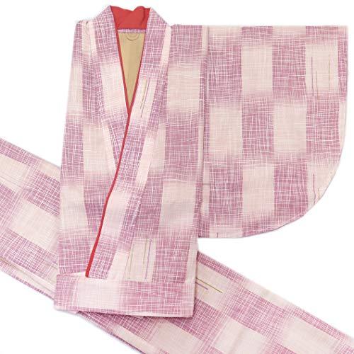 二部式着物 洗える着物 袷 単品 小紋柄の着物 Mサイズ「ピンクベージュ×紫ぼかし」HANM1816