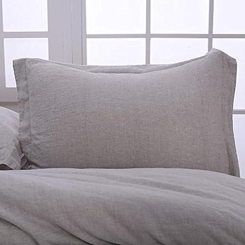3 Piece Simple Organic Belgian Linen Duvet Cover Set in 8 Colors - Flax Color