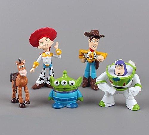 TOP Satisfied Toy Story Buzz Woody Playset 5x Pack Figure Cake Topper TV Movie Toy Doll Set Buzz Lightyear Alien Bullseye Jessie Woody