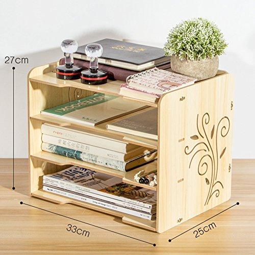 - WJXBoos Bookshelf,Wooden Desktop Storage Box Rack Creative Office Supplies Storage Management Rack Data File Rack Multi-Layer-E 33x25x27cm(13x10x11)