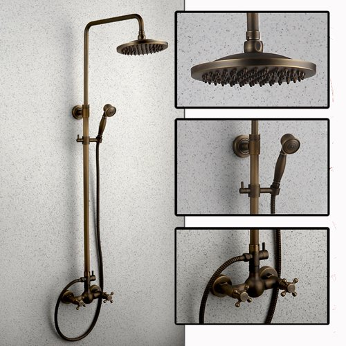 Wall Mounted Antique Brass Rain Shower System of Handheld Exposed Shower Head 8