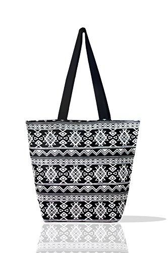 ity Tote Travel School Work Shopper Top Handel Shoulder Handbag for Women's Girl Jacquard Cloth Black and White (Black) (Jacquard Shopper)