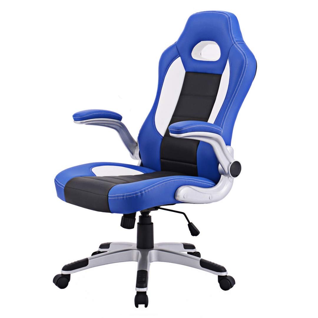 Modern Executive High Back Racing Style Gaming Chairs 360-degree Swivel PU Leather Upholstery Thick Padded Seat Adjustable Armrest School Office Home Furniture - (1) Blue #2129 by KLS14