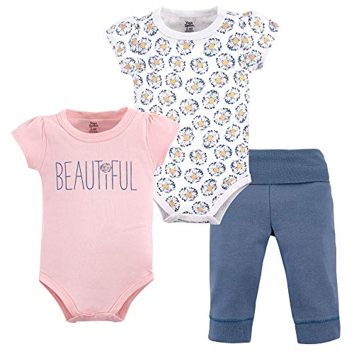 (Yoga Sprout Baby Bodysuit and Pant 3 Piece Set, Beautiful, 0-3 Months (3M))