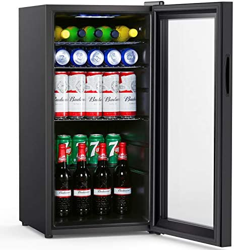 Colzer Beverage Refrigerator and Cooler – 2.9 Cu. Ft. 100 Can Drink Fridge with Glass Door for Office or Bar – Small Beverage Center with 6 Removable Shelves for Cans or Bottles of Soda, Beer or Wine