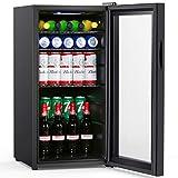 Colzer Beverage Refrigerator and Cooler - 2.9 Cu. Ft. Drink Fridge with Glass