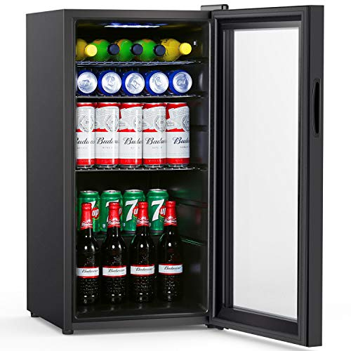 Colzer Beverage Refrigerator and Cooler - 2.9 Cu. Ft. 100 Can Drink Fridge with Glass Door for Office or Bar - Small Beverage Center with 6 Removable Shelves for Cans or Bottles of Soda, Beer or Wine
