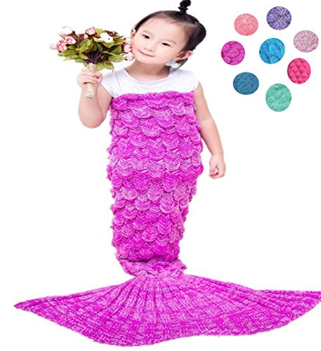 Coroler Kids Crochet Mermaid Tail Blanket with Scales Patterns All Seasons,Rose Pink (Mermaid For Kids)