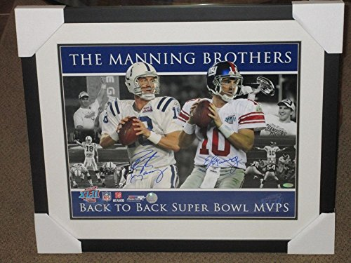 Brothers Sb Mvp Autographed 16x20 Framed Photo Steiner Auto (Eli Manning Autographed 16x20 Photo)