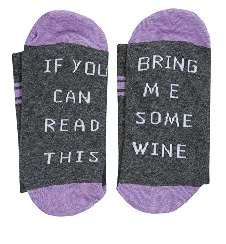 Pxmoda Unisex IF You Can Read This PLEASE Bring Me Some Wine Socks (one size, (Purple Wine)