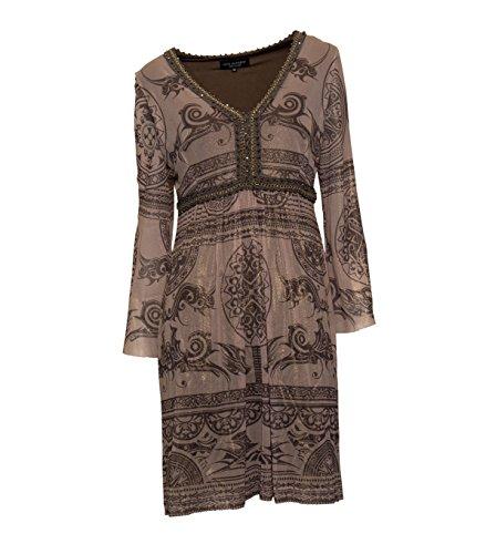 Ana Alcazar Damen Kleid mit Verzierung und Print BeigeBraun 910 ...