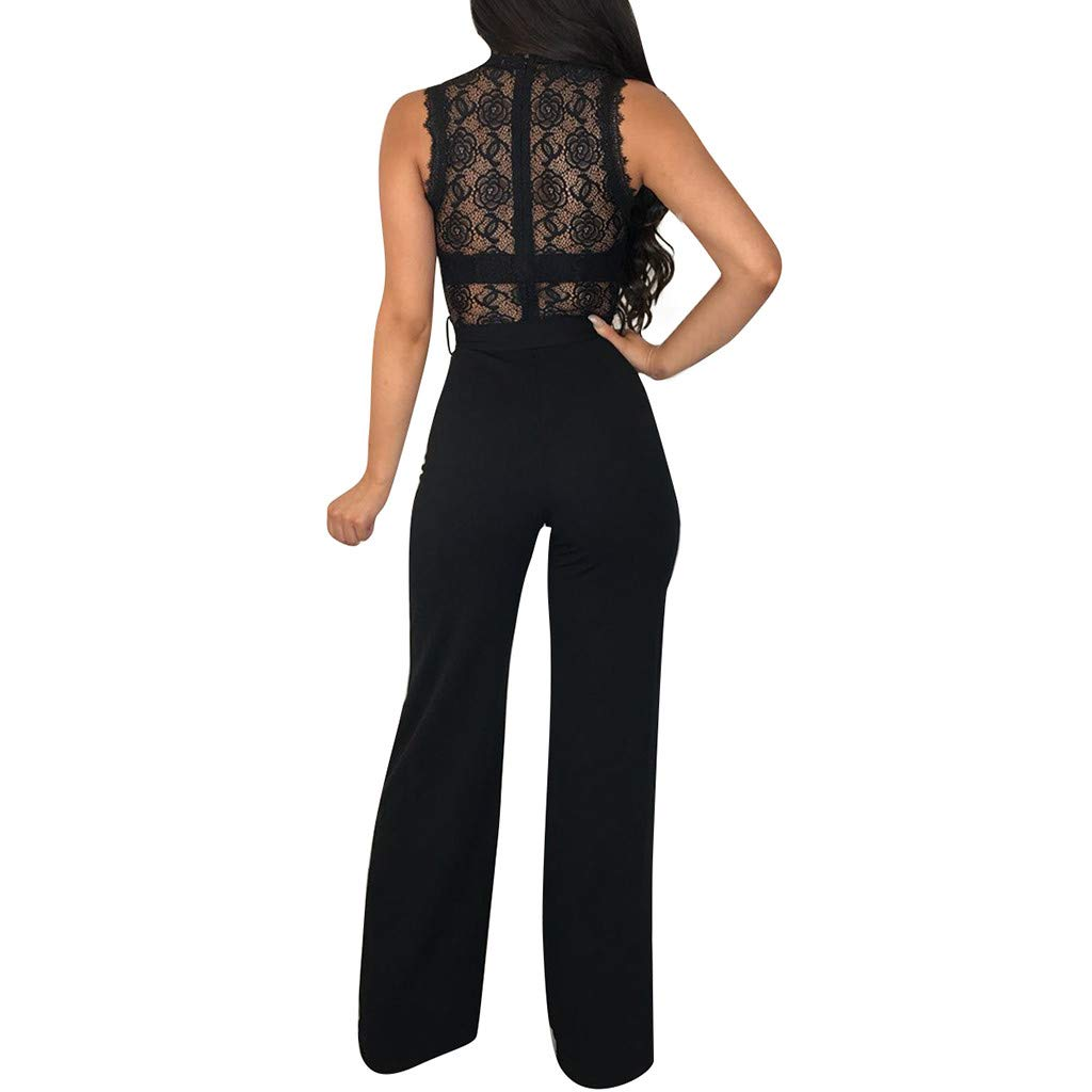 Women Jumpsuits Fashion Sheer Lace Floral Sleeveless Wide Leg Pants Rompers with Belt