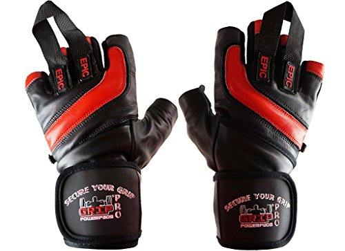Epic Leather Gym Gloves with Built in 2 Wide Wrist Wraps Best Grip & Design for Weightlifting Power Lifting Bodybuilding & Strength Training Workout Exercises