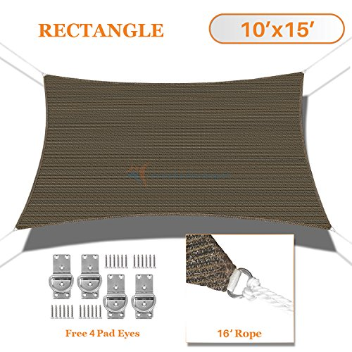 Sunshades Depot 10' x 15' Sun Shade Sail Rectangle Permeable Canopy Brown Coffee Custom Size Available Commercial Standard