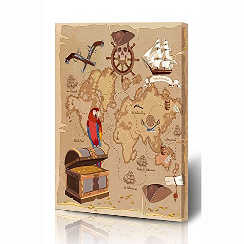(Ahawoso Canvas Prints Wall Art 12x16 Inches Roger Adventure Old Pirate Treasure Map Chest Parchment Parks Vintage Anchor Ancient Scroll Antique Wooden Frame Printing Home Living Room Office Bedroom)