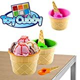 ice cream bowls for kids - Toy Cubby Adorable Plastic Party Kids Ice Cream Bowl and Spoon - 12 pieces
