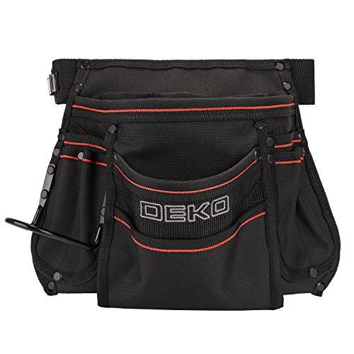 DEKO Tool Pouch with Belt 12 Pockets Electrician Tool Carpenter Nail Waist Bag 600D Oxford cloth Black by DEKO