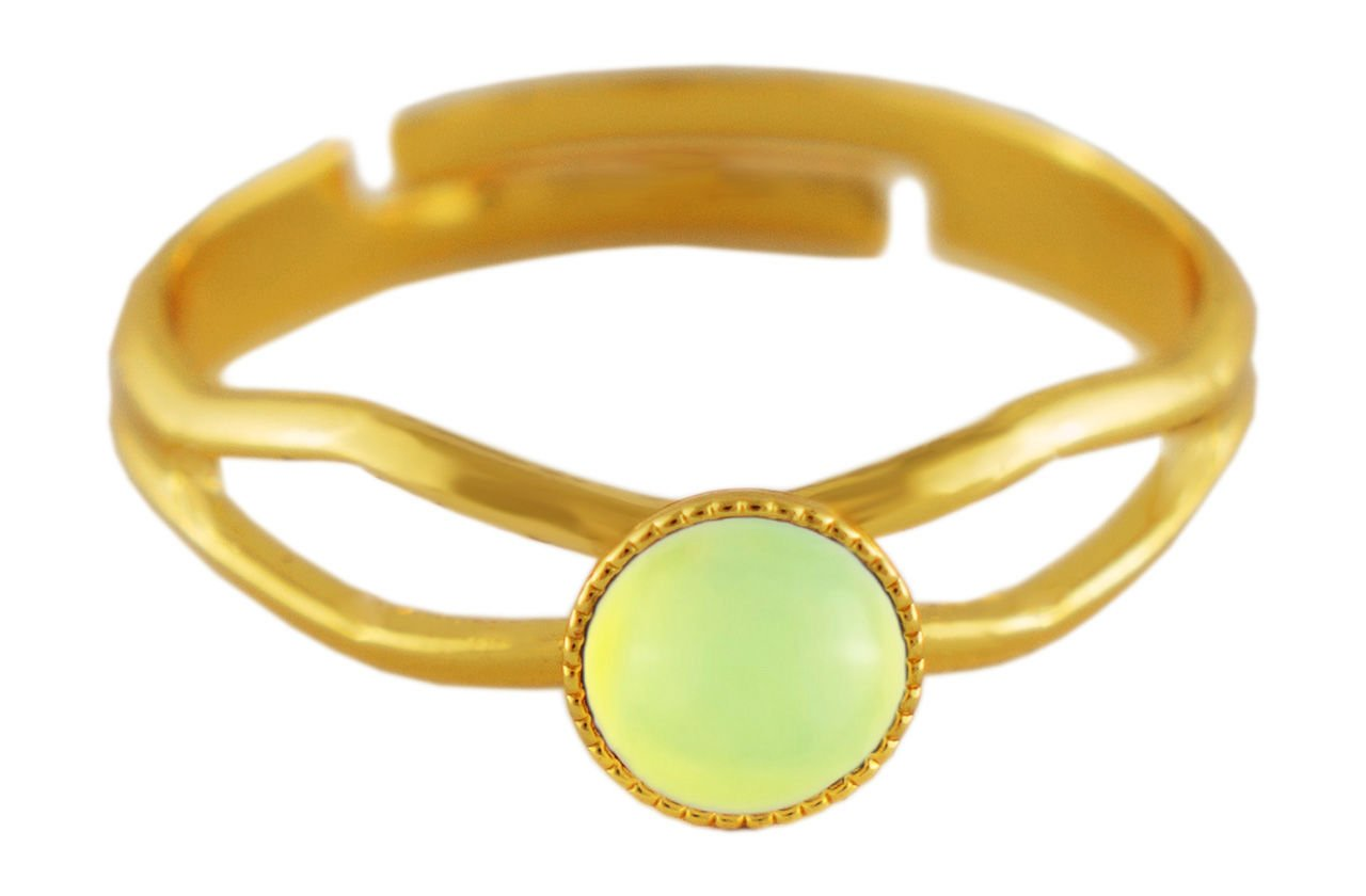 24K Gold Plated Minimalist Ring Adjustable Universal Size Round 5mm Opal Lemon Yellow Moonstone Czech Glass Stone Handmade BohemStyle
