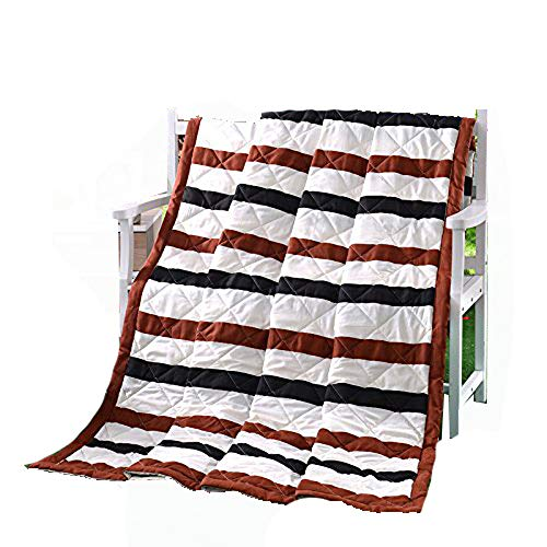KFZ Summer Quilt Comforter Bedspread for Bed Breathable BDD 4 Sizes with Simple Style Summer Moka Time Stripes Designs for Children Adult One Piece (Wide Stripes,Multi, Kids,39