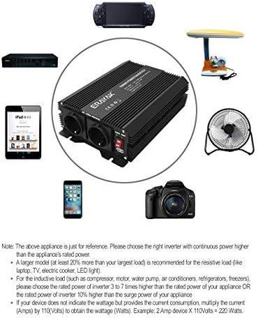 trasformatore da 12v 220v potenza di picco 3000 ERAYAK Power Inverter 1000W Convertitore max 2000w con 2 prese EU e connessione USB Invertitore di Potenza