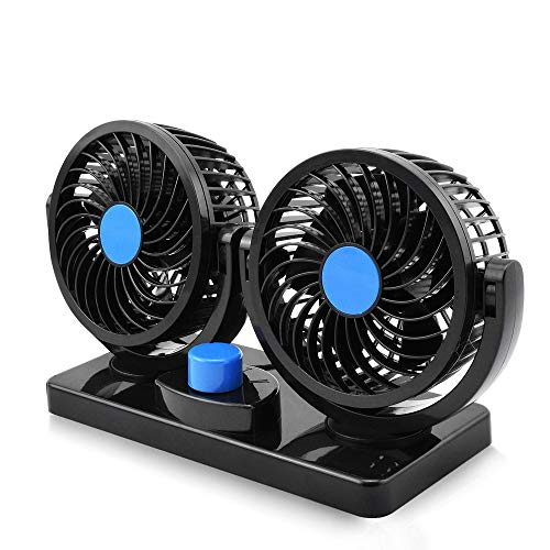 12V Electric Car Fan 360 Degree Rotatable - Car Fan with Dual Head - Air Cooling -2 Speed Dual Head - Desk Fan with Strong Suction Cup Firmly Attached