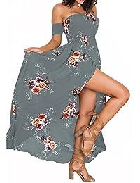 Women's Sexy Summer Dress Strapless Split Maxi Beach Dress Off Shoulder Floral Print Dress