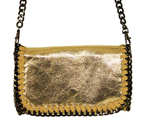 Lani 1401171841 Pelle A Metallizzato Borsa Small Effetto Mano Da Sand Sera Donna Glitzer Clutch Gold Piccolo Catena Con Look beige Echtleder S1AXqw