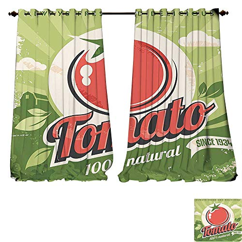 fengruiyanjing-Home Window Curtain Fabric Vintage Vintage Tomato Poster an Antique Paper Contemporary Ative Graphic Design Art Green Red Drapes Living Room (W96 x L84 -Inch 2 Panels) ()