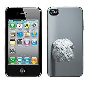Cubierta de la caja de protección la piel dura para el Apple iPhone 4 / 4S - White Abstract Cube