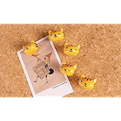 IMagicoo Set of 10 Pcs Decorative Animal Shaped Wood Thumb Tacks Push Pins for Home Office, Cork boards, Photo Wall (Cat)