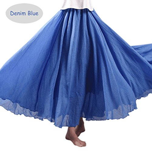 Circle Jeans Full (Phoenix Women Chiffon Gradient Bohemian Flowing Maxi Skirt Full Circle Skirt (One Size, Denim Blue))