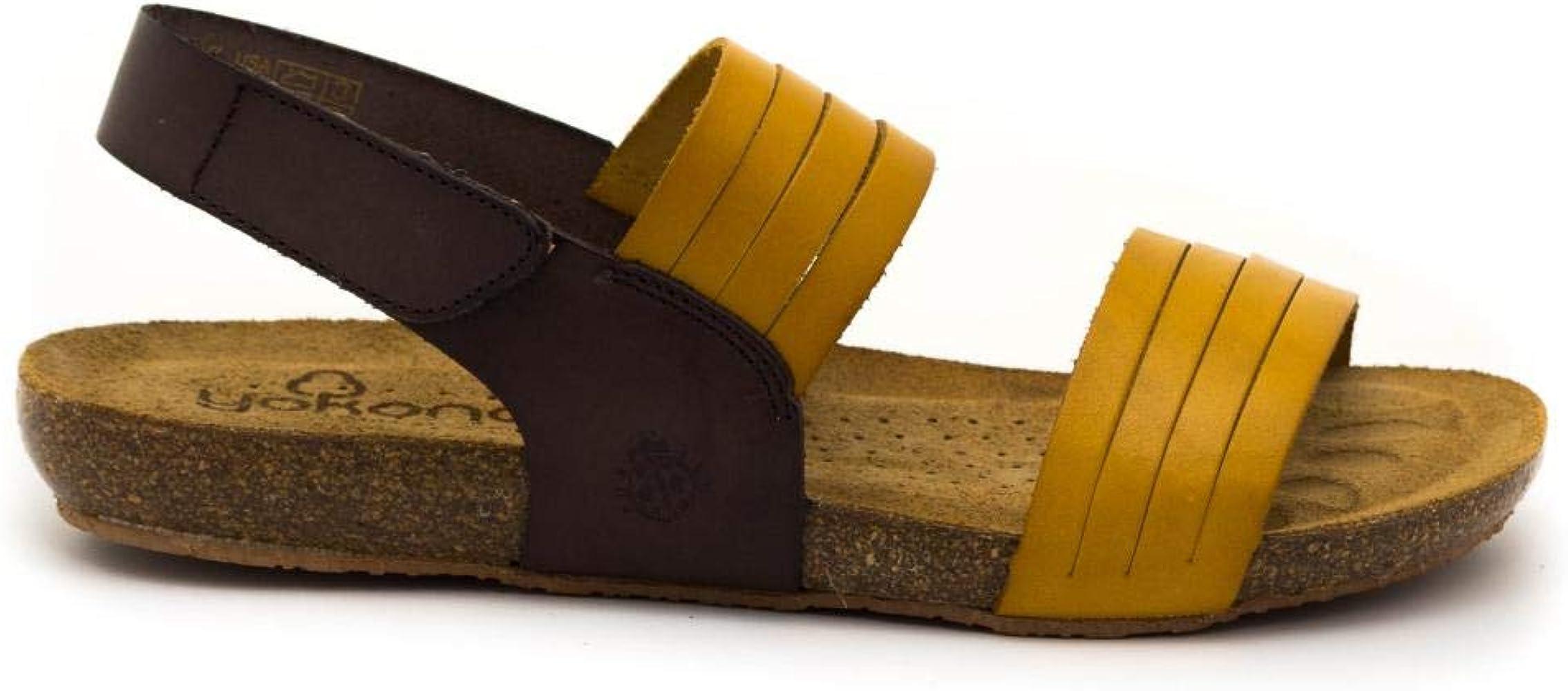 Sandalias de Cuero Fabricadas en Espa/ña Yokono Beach 142 Mostaza Marr/ón