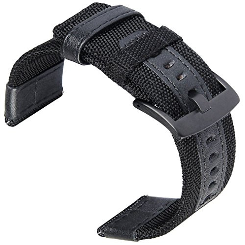 24mm Watch Bands, OTOPO 24mm Watch Band Premium Nylon Woven with Leather Replacement Wrist Band Strap for Suunto TRAVERSE and Any Watches with 24mm lug Smartwatch (24mm NOT Fit Gear S3, Black)