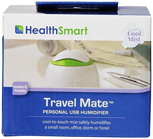 HealthSmart Travel Mate Personal Ultrasonic Cool Mist USB Humidifier, Quiet, Filter Free by HealthSmart