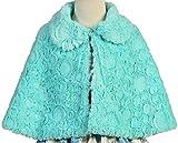 Little Girls Lovely Collared Faux Fur Wrap Flower Girls Cape Coat (40AG04) Mint L