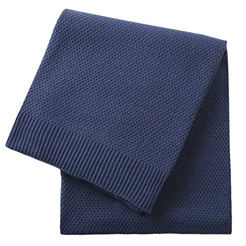 Treely 100% Cotton Cable Knit Throw Blanket for Couch Chair Bed Home Decorative,Soft & Cozy Knit Throws(Navy,50