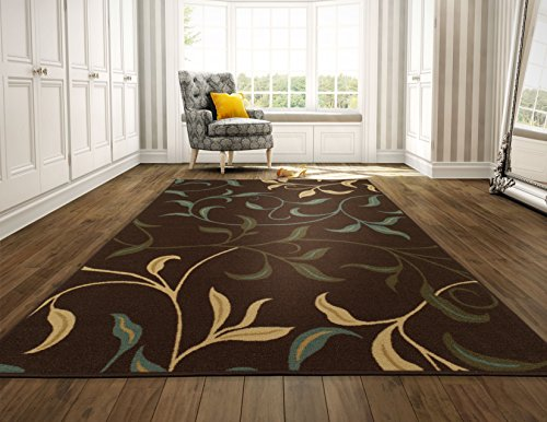 (Ottomanson Ottohome Contemporary Leaves Design Modern Area Rug with Non-Skid Rubber Backing 8'2