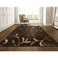Ottomanson Ottohome Collection Contemporary Leaves Design Non-Skid Rubber Backing Modern Area Rug, 8'2' X 9'10', Chocolate Brown