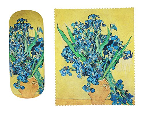 Van Gogh Irises in Vase Painting Art premium quality eyeglass case and matching Irises in vase Painting art microfiber eyeglasses cleaning cloth