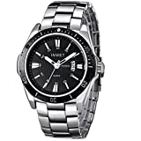 INWET Fashion Men's Quartz Watch,Black Dial with Date Calendar,Silver Plated Band
