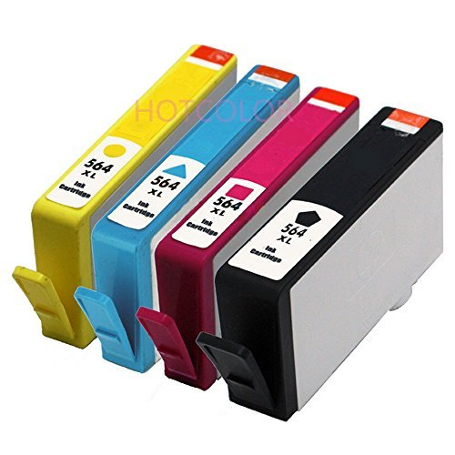 HOTCOLOR 4pk New Version 564XL Ink B/C/M/Y For 564 XL Photosmart B209a B210a -Show Ink Level