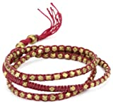 M. Cohen Handmade Designs Tiny Brass Beads on Raspberry Linen Triple Wrap Bracelet, 21.5''